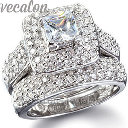 Vecalon 130pcs Topaz Simulated diamond cz Engagement Wedding Band Ring Set for Women 14KT White Gold Filled Party ring