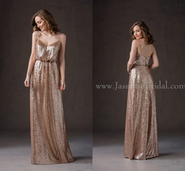 Wholesale Hot Gold Fall Jasmine Bridesmaid Dresses Cheap Spaghetti Strap A Line Sequins Long Junior Bridesmaid Dresses L184065