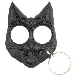 Wholesale Cute Black Evil Cat Outdoor Survival Keychain Self Defense Tool Wild Cat Self Defense Keyring Evil Cat Safety Keychain Finger Knuckles