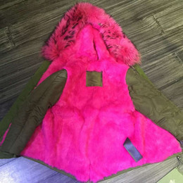 Wholesale Qltrade_2 actual pictures MR MRS itlay rabbit fur green mini parkas outerwear MMF FURS canvas jackets