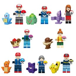 Wholesale 8pcs Pokemons Go building blocks Pikachu Charmander Bulbasaur minifigures Action mini figures kids poke toys bricks SY620