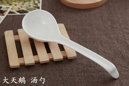 Wholesale Bone china big ceramic round spoons long spoon for soup ladle soup for mashed potatoes for seving for cooking