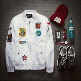 Fall-Fashion Mens Bomber Jacket Pilot Jacket Mens White Embroidery Baseball Jacket Z1340
