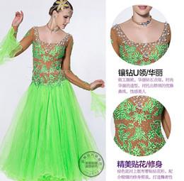 green customize Fox trot cha cha ballroom Waltz tango salsa Quick step competition dance dress