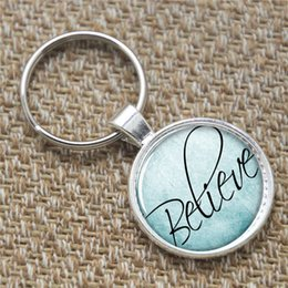 Wholesale 12pcs believe keyring Pray believe Faith Inspirational people Art Print keyring Jesus Photo gift keyring