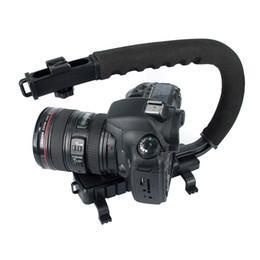 Wholesale-C Shape flash Bracket holder Video Handle Handheld Stabilizer Grip for DSLR SLR Camera Mini DV Camcorder