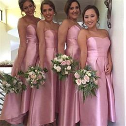 Descuento sin tirantes damas de alta-baja de vestir 2016 una línea de vestidos de dama de honor rosa más tamaño formal de la dama de honor sin tirantes de vestidos de honor largo alto vestido de damas de honor bajas
