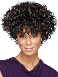 Fashion Short curly wig caps Afro hairstyle Women wig cosplay Hair lady Synthetic Wigs High temperature Female Wig SW018