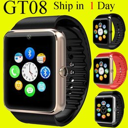 Wholesale GT08 Smart Watch Compatible Platform IOS Android With Pedometer Camera Monitoring Sleep Sedentary Reminder For iPhone Samsung DHL OTH098