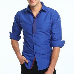 Free Shipping Autumn New Men's Fashion Casual Shirt Personalized Ribbon Stitching Long-sleeved Shirt