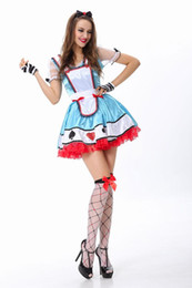 Wholesale Classic Alice Fairytale Carnival Costumes In Wonderland Movie Alice Costume Women Deluxe Alice With Headpiece And Apron L15273