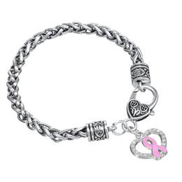 2017 ruban rose sein Livraison gratuite la sensibilisation au cancer du sein Ruban émail rose Coeur Charm Fermoir Bracelet pour les femmes ruban rose sein sur la vente