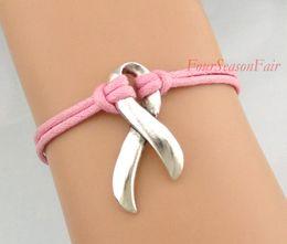 Wholesale Custom Infinity Love Faith Hope Breast Cancer Awareness Ribbon Bracelet Autism Awareness Pink Ribbon Bangles Adjustable Drop Shipping