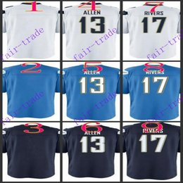 Wholesale Youth NIK Game Football Stitched Chargers Blank Allen Rivers Light Blue White Dark Blue Jerseys Mix Order