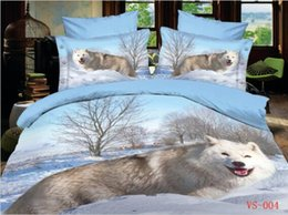 Animal Printed Bedding Sets Polyester Cotton Six Pieces 3D Wolf Home Bedding Supplies Three Kind Sizes Can Choose New Arrival