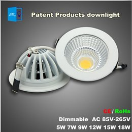 Super bright Patent product Dimmable LED Recessed Downlight 5W 7W 9W 12W 15W 18W COB Chip LED Ceiling SpotLight White  Warm white