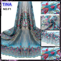Wholesale 2016 new arrival tulle lace french lace fabric with sequins for formal Prom Wedding Dress Ball Gown from China suppliers store