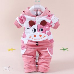 Wholesale Hug Me Girls Boys Baby Cothes Kids Suit Mickey Top Pants set Kids clothes New Autumn Winter palm pattern Pants cattle SetsAA