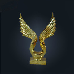 Wholesale Abstract eagle sculpture of stainless steel wrought iron metal sculpture silver plating Hotel KTV Decoration Crafts