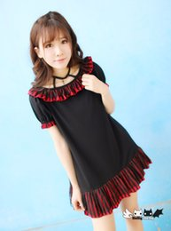 Princess sweet lolita dress The circus Red and black stripe dot lace dress to send led rope