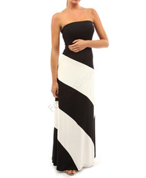 summer style long dress women striped summer dress sexy strapless white and black off shoulder sleeveless plus size