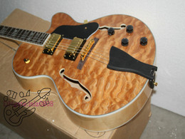 Wholesale Guitars Custom Shop Tiger flame F hole natural Jazz Electric Guitars Wholesale guitars free shipping