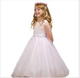2016 Fashion Big Girls Embroidered Dress Children Summer Lace Princess Dresses Kids Sleeveless Wedding Dress Baby Girl Party Long Dress