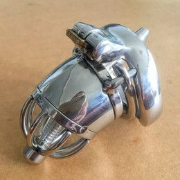Wholesale New design mm length Stainless Steel Super Small Male Chastity Device with Catheter and anti off version quot Short Cock Cage For BDSM