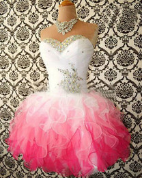 In Stock 2016 Homecoming Dresses Cheap Sweetheart Beaded Ruffles Organza Short Cheap Prom Dresses Mini Junior 8th Grade Graduation Dresses