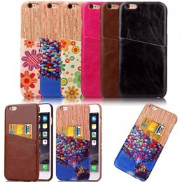 Wholesale Fashion Wood Grain Flower Crazy Horse Leather Card Slot Veneer Gluing Case For Iphone SE S S Plus Hard PC Hybrid Phone Cover