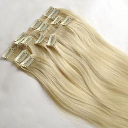 120g 10pcs set 20 22inch #613 Clip in Hair Extensions Smooth Brazilian human Hair #613 Bleach Blonde Straight Hair more colors