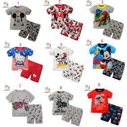 Wholesale 13 style girl boy Mickey Minnie hello Kitty Pajamas cartoon Sesame Street Batman INS Short sleeve shorts Suits baby clothes C866