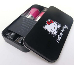 Hello Kitty Makeup Brush Set 7 In 1 Kitty Cat Cosmetic Brushes Black And Light Pink