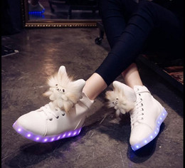 Wholesale NEW Color LED luminous shoes USB charging shoe Plush dolls fluffy warm Martin boots colorful lights high help Flat with shoes DHL pair