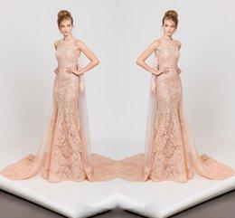 Wholesale Cream Jewel Neck Evening Dress With Wrap Lace Applique Sleeveless Zipper Back Organza Celebrity Dress Mermaid Floor Length Evening Gowns
