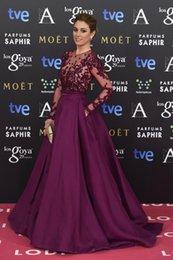Wholesale Remios goya Zuhair Murad dress crew neckline illusion long sleeve decal crystal beaded dress evening dress