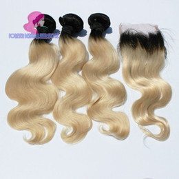 Wholesale Two Tone Blonde B Best A Ombre Brazilian Peruvian Malaysian Indian Body Wave Virgin Remy Human Hair Weave Bundles with Lace Closure