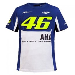 Wholesale 2016 Motorcycle casual T shirt Valentino Rossi VR46 dual Moto GP Monza Cotton T shirt Blue White