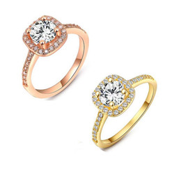 Wholesale 18K Solid Gold Plated Gemstone Wedding Rings Solitaire Ring Luxury Jewelry CZ Diamond For Woman Wedding Engagement Hot Sale R151