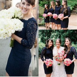 Custom Made Navy Blue Lace Bridesmaid Dresses Garden Long Sleeves Sheath Short Mini Bridemsaid Gowns Sexy Sheer Party Gowns