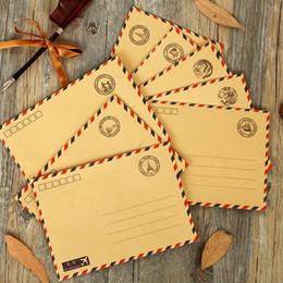 Papelería sobre de papel en Línea-Al por mayor de (10 pedazos / porción) Sobres Set de escritorio de la vendimia de correo aéreo Sobres Sobres Regalo Papel Kraft Papel Kraft-Square-Envelope