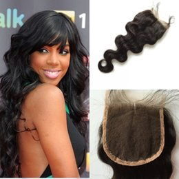 Lace closure Peruvian Hair Body Wave 6A Middle Part Free part Bleached Knots Three Part Body Wave Human Hair Closure
