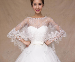 Wholesale The new bride wedding dress Shawls white lace bats cloak Shawls and beaded and lace details of the most popular Wedding Dress accessories
