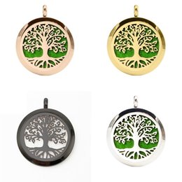 Wholesale 4 Colors L Stainless Steel Essential Oil Diffuser Aromatherapy Locket Floating Tree Pendant Necklace Men Women Fashion Jewelry UB701
