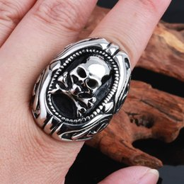 Size #8-12 316L Stainless Steel Cool Silver Skull Ring Rock & Roll Punk Style Gothic Skeleton Rings Jewelry