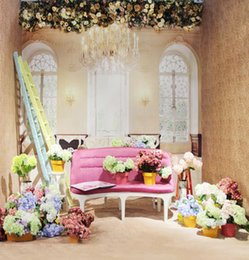 Pink Sofa&Flowers Wallpaper 5X7ft Vinyl Cloth Wedding Children Photography Backgrounds for Photo Studio Props Photo Backdrops