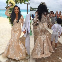 Wholesale 2016 Mermaid Wedding Dresses Newest Beach Champagne Lace Long Sleeve Corset Wedding Dresses Turkey Vintage Crew Brial Gowns