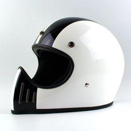 Compra Online Cascos de carreras de la vendimia-Venta al por mayor Capacete Casque Moto Japón marca TTCO Thompson motocicleta casco Ghost Rider carreras brillantes cascos vintage casco completo de la cara