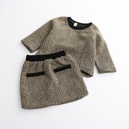 Wholesale 2016 Childre s Autumn Winter Sets Baby Girls Knit Crochet Jumper Sweaters with Knitted Skirts Babies Fashion Korean Outfits