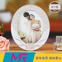 Wholesale 8 inch oval and square inch rectangle photo frame mahal series ABS eco friendly material with rhinestone embroidered frame